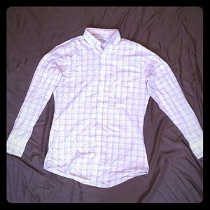Pink Pladded Fitted Dress Shirt